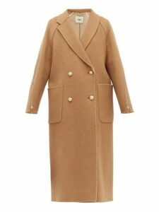 Fendi - Zip Panel Camel Hair Coat - Womens - Brown Multi