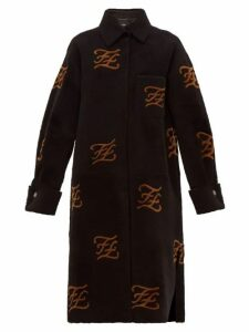 Fendi - Monogrammed Shearling Coat - Womens - Black Multi