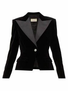 Alexandre Vauthier - Crystal Button Cotton Velvet Blazer - Womens - Black