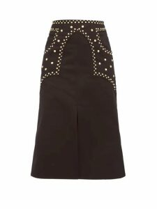 Françoise - Studded Cotton Twill A Line Skirt - Womens - Black