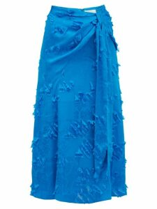 Peter Pilotto - Fil Coupé Satin Jacquard Midi Skirt - Womens - Blue