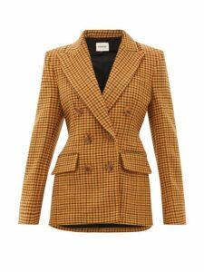 Khaite - Darla Double Breasted Wool Gingham Blazer - Womens - Brown Multi