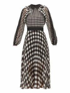 Self-portrait - Gingham Print Lace Trimmed Pleated Chiffon Dress - Womens - Black Cream