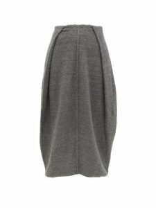 Jil Sander - Knife Pleated Cashmere Blend Midi Skirt - Womens - Dark Grey