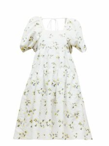 Cecilie Bahnsen - Ronja Tiered Floral Fil-coupé Mini Dress - Womens - Yellow White