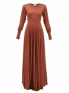 Lemaire - Bias-cut Pleated-sleeve Modal-jersey Maxi Dress - Womens - Mid Brown