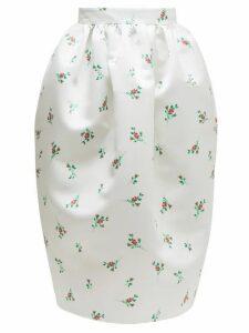 Rochas - Floral Print Duchess Satin Skirt - Womens - Natural 9501