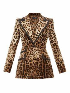 Dolce & Gabbana - Leopard Print Velvet Blazer - Womens - Leopard