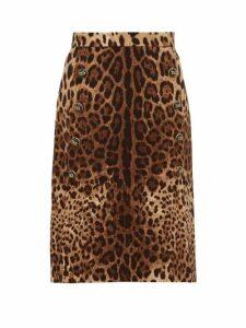 Dolce & Gabbana - Leopard Print Wool Crepe Midi Skirt - Womens - Leopard