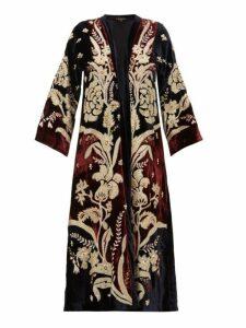 Biyan - Holma Floral Appliqué Velvet Evening Coat - Womens - Burgundy Multi
