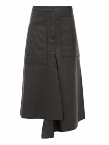 Tibi - Asymmetric Leather Midi Skirt - Womens - Black
