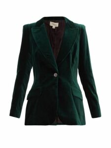 Temperley London - Clove Single Breasted Cotton Blend Velvet Blazer - Womens - Dark Green