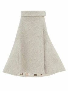 Jil Sander - Fluted Felted Wool Blend Midi Skirt - Womens - Light Grey