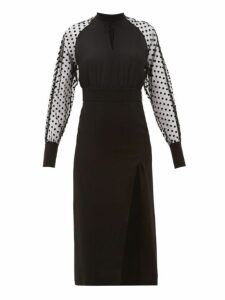 Balmain - High Neck Polka Dot Sleeve Crepe Dress - Womens - Black