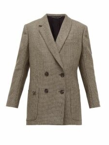Fendi - Double Breasted Bow Back Houndstooth Wool Jacket - Womens - Grey Multi