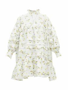 Cecilie Bahnsen - Macy High-neck Floral Fil-coupé Dress - Womens - Yellow White
