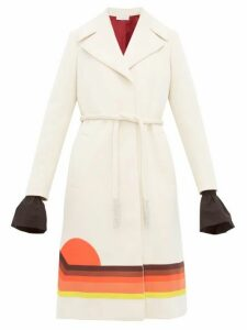 Françoise - Sunset-appliqué Belted Cady Coat - Womens - Ivory Multi