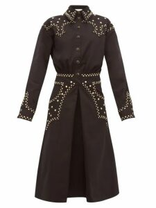 Françoise - Studded Cotton Twill Shirtdress - Womens - Black