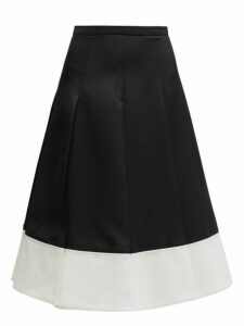 Rochas - Contrast Hem Pleated Wool Twill Skirt - Womens - Black White