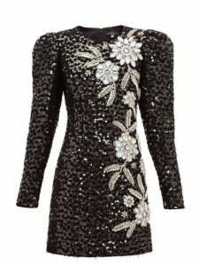 Andrew Gn - Embellished Puff Sleeve Tweed Mini Dress - Womens - Black Silver