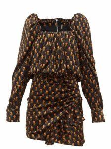Dodo Bar Or - Michel Floral Print Velvet Mini Dress - Womens - Black Multi