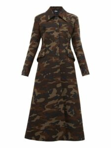 Miu Miu - Single Breasted Camouflage Print Wool Coat - Womens - Green Multi