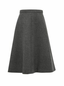 Miu Miu - A Line Wool Tweed Midi Skirt - Womens - Dark Grey