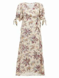 Sir - Avery Floral Print Silk Wrap Dress - Womens - Multi