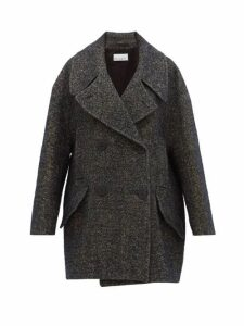 Raey - Oversized Linen Blend Tweed Pea Coat - Womens - Navy Multi