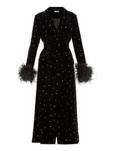 Miu Miu - Crystal Single Breasted Velvet Evening Coat - Womens - Black