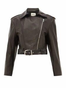 Khaite - Jennifer Silk Lined Leather Biker Jacket - Womens - Black