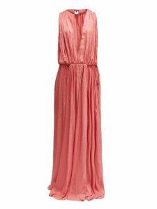 Ann Demeulemeester - Ariana Plunge-neck Satin Dress - Womens - Pink