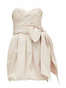 Alexandre Vauthier - Gathered Bow Embellished Taffeta Mini Dress - Womens - Light Pink