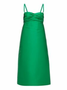 No. 21 - Gathered A Line Satin Dress - Womens - Green