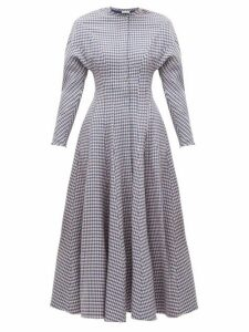 Vika Gazinskaya - Flared Houndstooth Wool Dress - Womens - Blue Multi