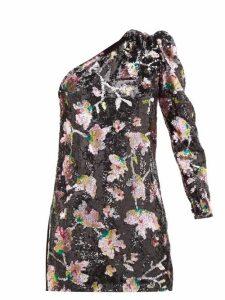 Self-portrait - One Shoulder Floral Sequinned Velvet Mini Dress - Womens - Black Multi