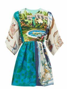 Rianna + Nina - Vintage Patchwork Tapestry Panel Silk Top - Womens - Multi