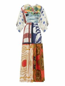 Rianna + Nina - Embroidered Bib Patchwork Printed Silk Dress - Womens - Multi