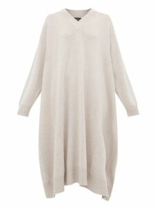 Eskandar - V Neck Cashmere Midi Dress - Womens - Light Grey