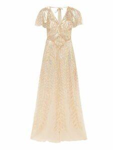 Temperley London - Dusk V Neck Sequinned Tulle Gown - Womens - Gold