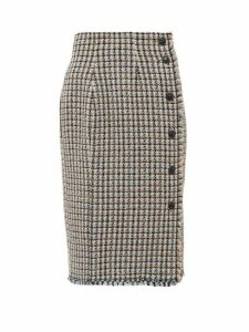 Rebecca Taylor - Houndstooth Tweed Cotton Blend Skirt - Womens - Pink Multi