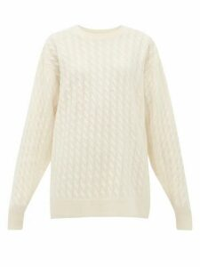 The Row - Minorj Cable Knit Cashmere Blend Sweater - Womens - Ivory