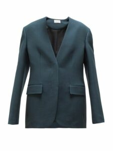 The Row - Murray Collarless Wool Blend Blazer - Womens - Dark Green