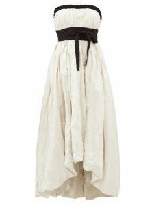 Brock Collection - Grosgrain Trim Strapless Taffeta Gown - Womens - Ivory Multi