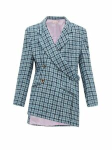 Natasha Zinko - Asymmetric Double Breasted Checked Tweed Blazer - Womens - Blue