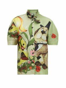 Symonds Pearmain - Dog Print Silk Satin Shirt - Womens - Multi