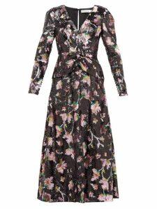 Self-portrait - V Neck Floral Sequinned Maxi Dress - Womens - Black Multi