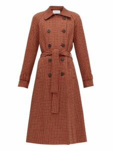 Harris Wharf London - Gunclub-check Cotton-blend Twill Trench Coat - Womens - Red Multi