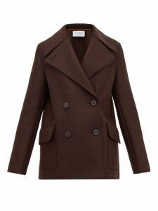Harris Wharf London - Pressed Virgin Wool-felt Peacoat - Womens - Dark Brown