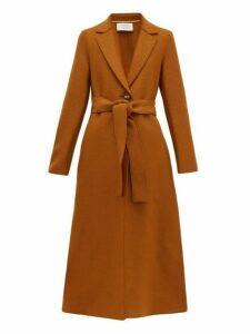 Harris Wharf London - Single Breasted Pressed Wool Coat - Womens - Dark Brown